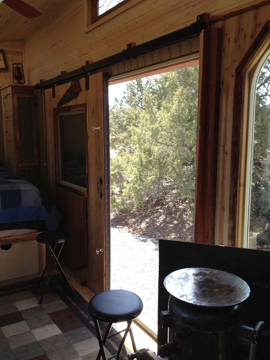 Sliding Exterior Door of a Tiny House on Wheels - Kevin's Tiny ...