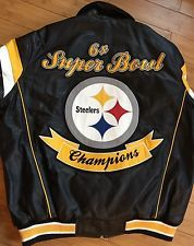 Pittsburgh STEELERS 6 TIME Super Bowl Championship Football Leather Jacket  XL 042e2b605