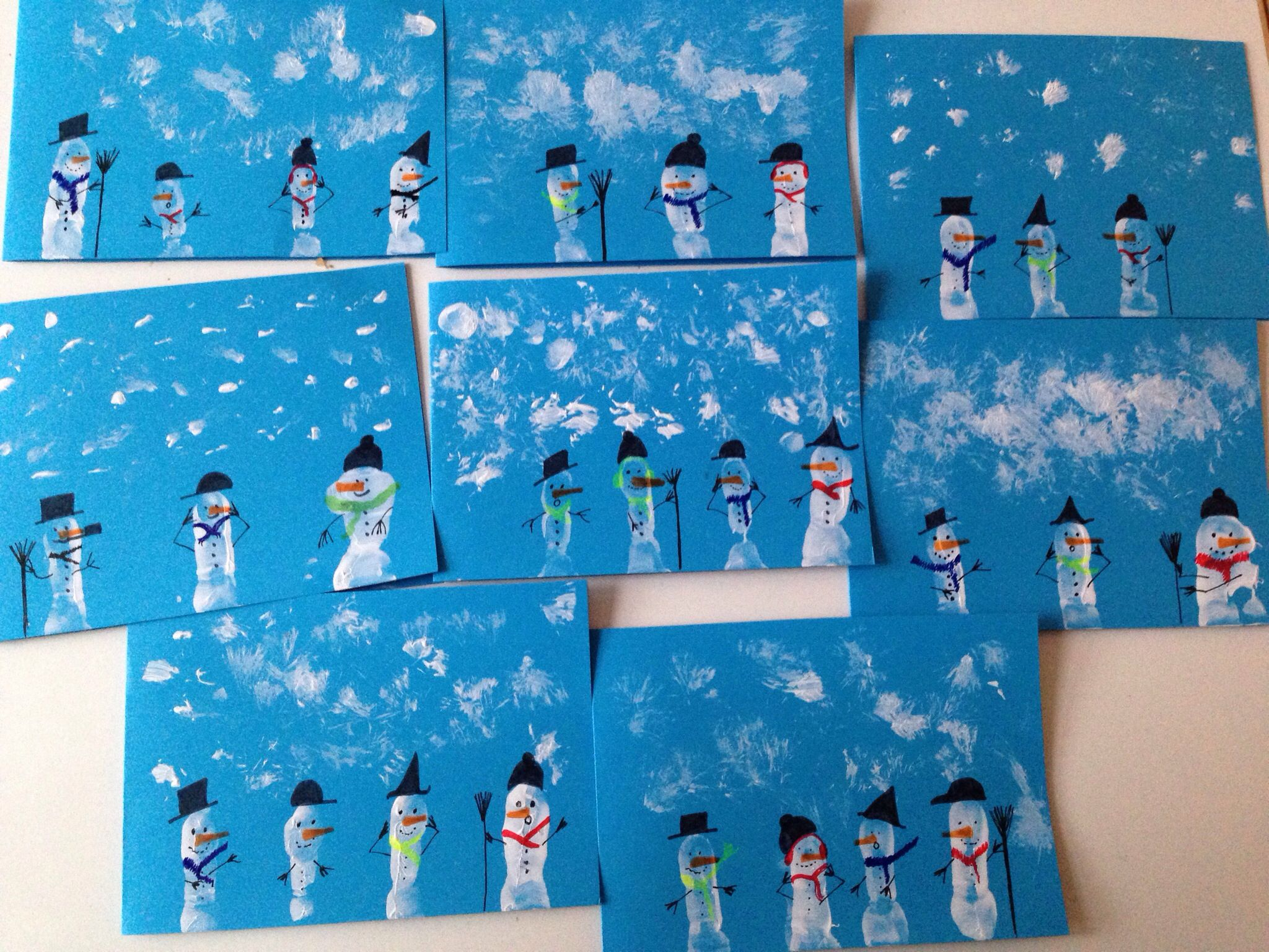 Christmas Craft Ideas Ks1 Part - 20: Thank You Christmas Cards Snowman Finger Printing