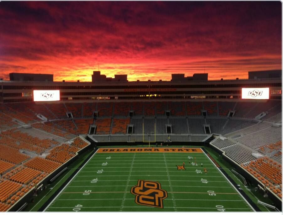 Sunset Over Boone Pickens Stadium October 24 2015 Stillwaterstrong Still Water Sunset Oklahoma State University