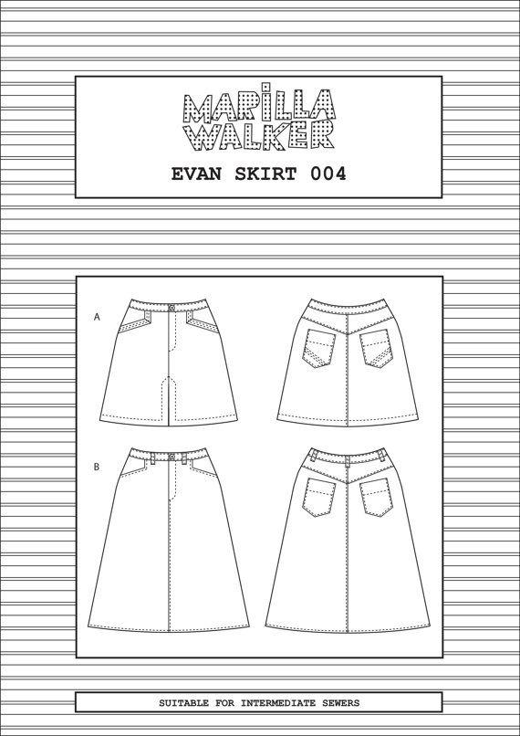 Patron de couture de jupe Evan par MarillaWalker sur Etsy   patrones ...