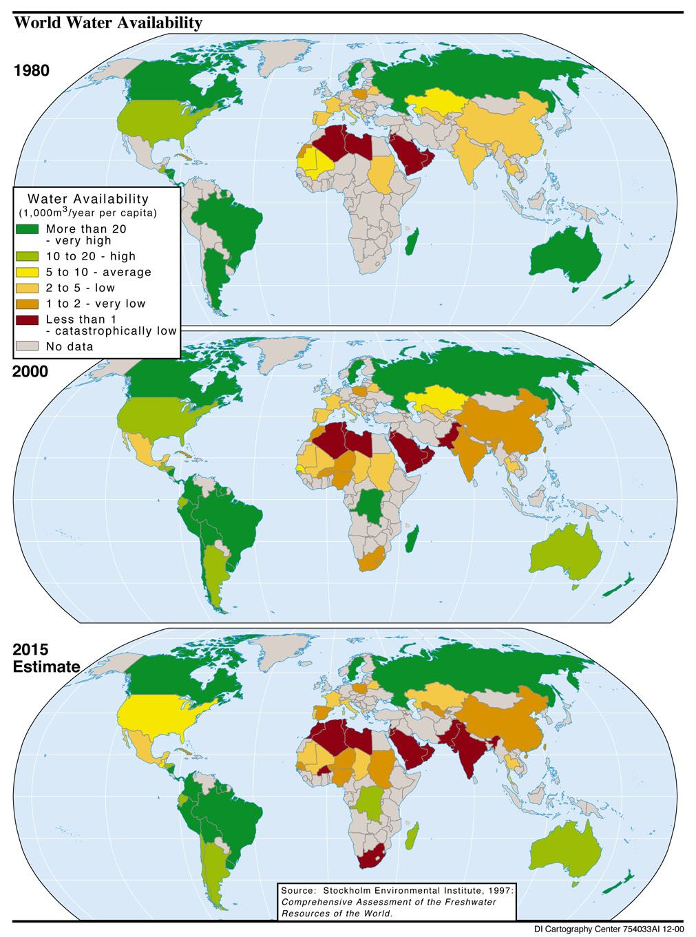 Water climate change world water shortages water scarcity global map world water availability 2015 gumiabroncs Choice Image