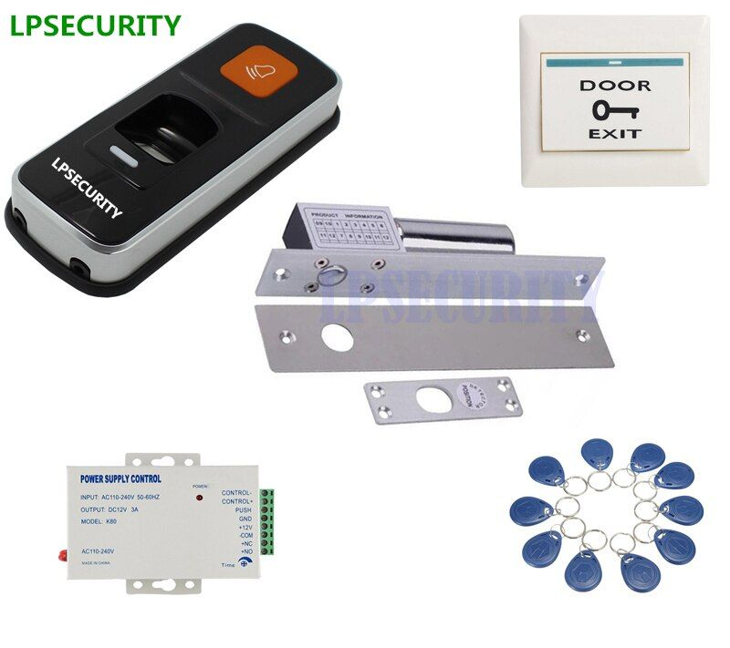 Lpsecurity 12vdc Rfid Fingerprint Access Control Reader Scanner Electric Drop Bolt Gate Door Lock Kit With 10 Tags With Images Access Control Door Locks Rfid