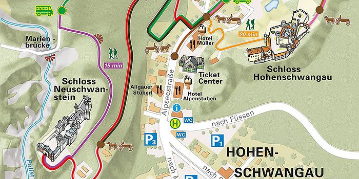 Picture Map Of The The Village Of Hohenschwangau Path To Castle From Parking Or Bus Travel Planner Neuschwanstein Castle Tourist Info