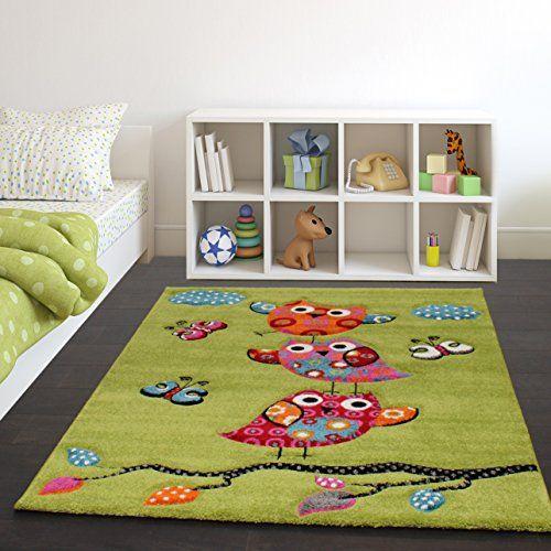 Kids Carpet Cute Owls Modern Children Rug in Green Cream Red Blue - wohnzimmer creme rot