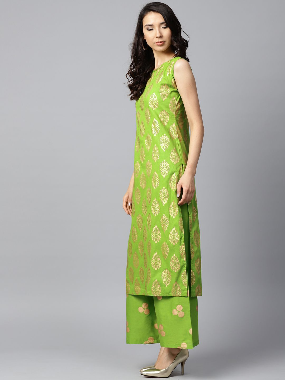 2c62afc6804 Buy Nayo Women Green   GoldenPrinted Kurta With Palazzos - Kurta Sets for  Women 6618412