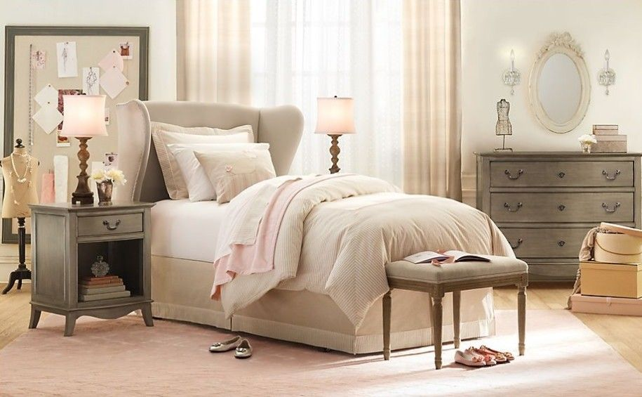 Eccentric Classic Girls Room Design Leads You to Sleep Cozily: Classic Girls Room Design Cream Color Wooden Style Grey Dress Table ~ anahitafurniture.com Bedroom Design Inspiration