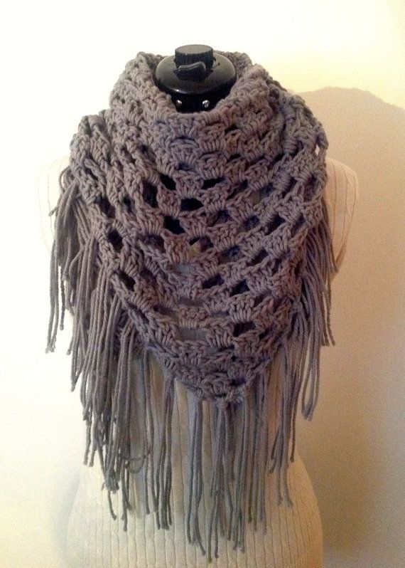 Crochet PATTERN Triangle Fringe Scarf by HookingStitch on ...