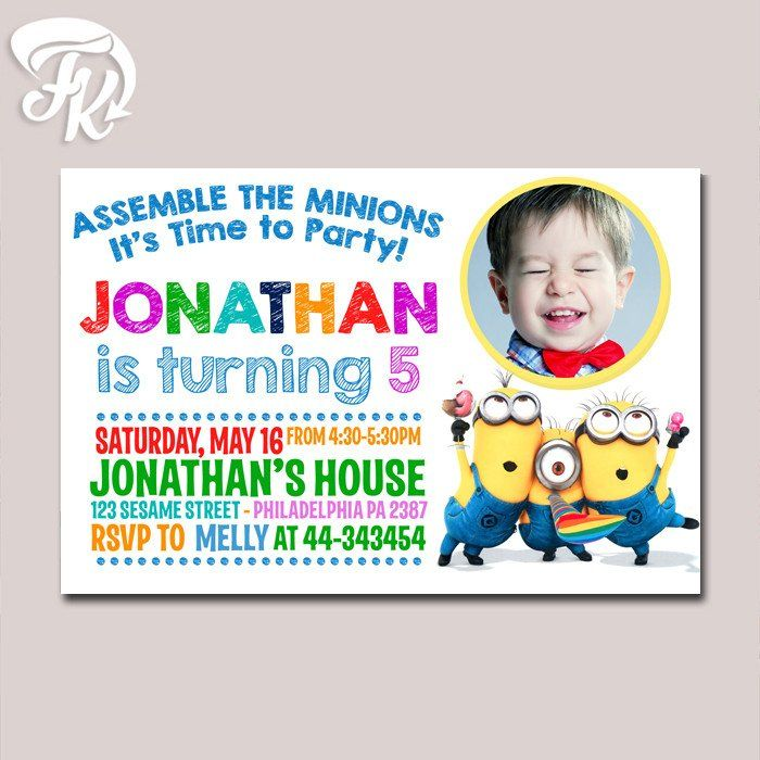 Landscape Minions Time Party Kids Birthday Party Card Digital ...
