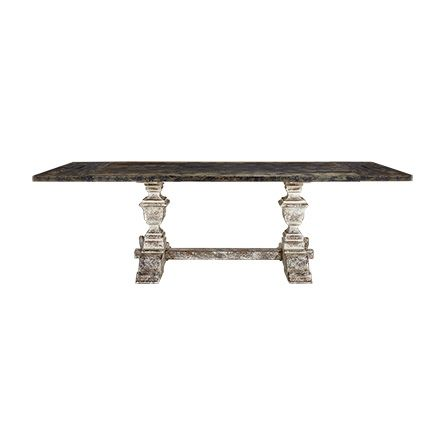 """The Arhaus Wilhelm 72"""" Black Extension Dining Table with Black Base features a stunning hand-distressed solid oak tabletop & Douglas fir base."""