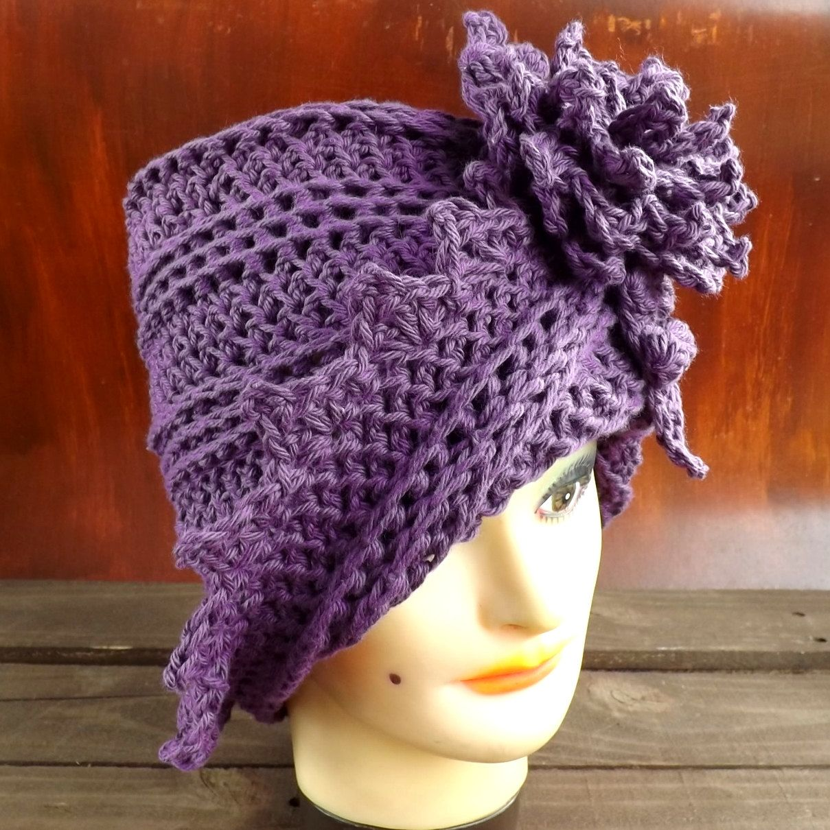 Crochet Pattern Flower Hat Pattern Flower Pattern, Crochet Hat ...