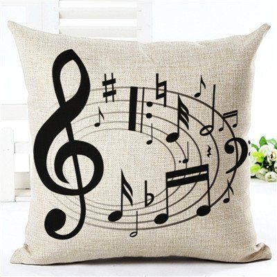 Music Notes Design Decorative Pillow Case Cover 45cm X 45cm Cove