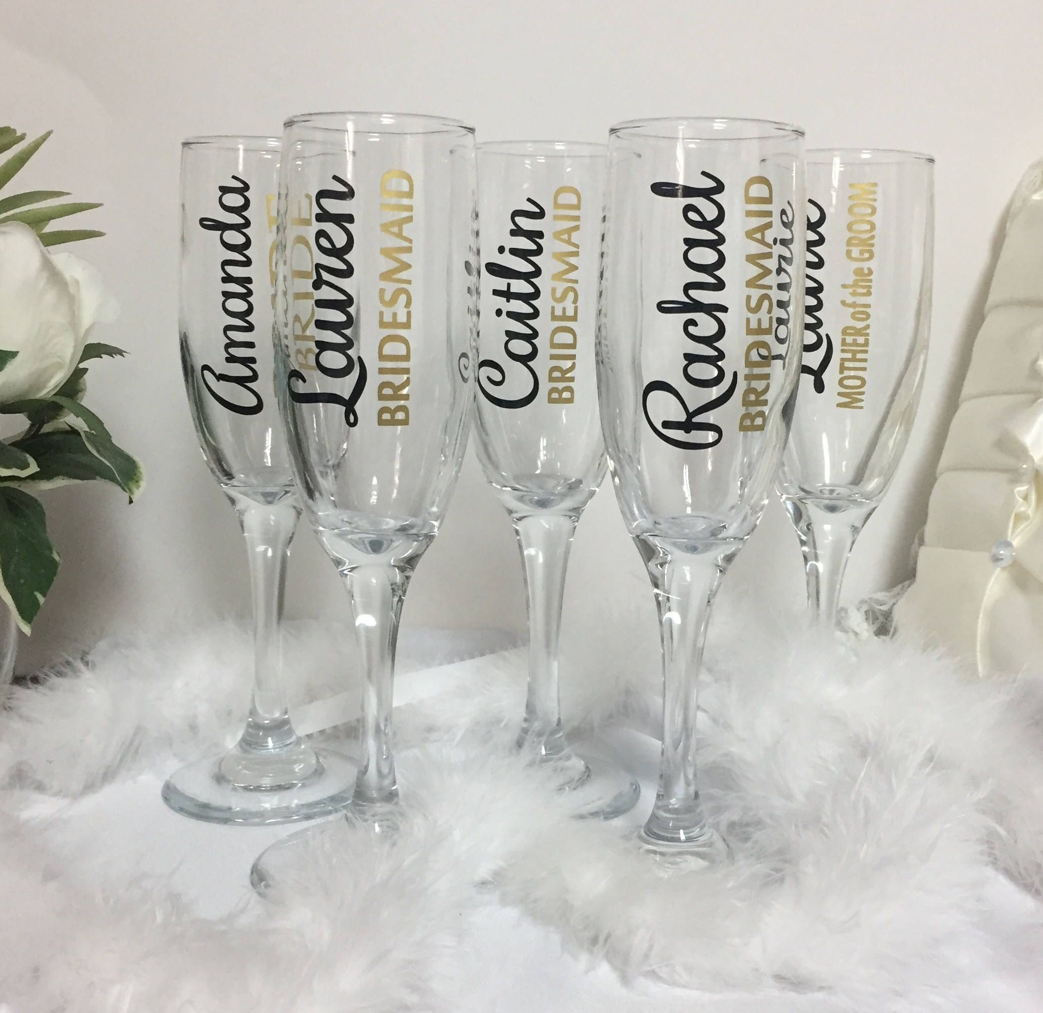 Personalized Champagne Flutes Bridesmaids Champagne Glasses Etsy Personalized Champagne Flutes Bridesmaid Champagne Glasses Wedding Wine Glasses