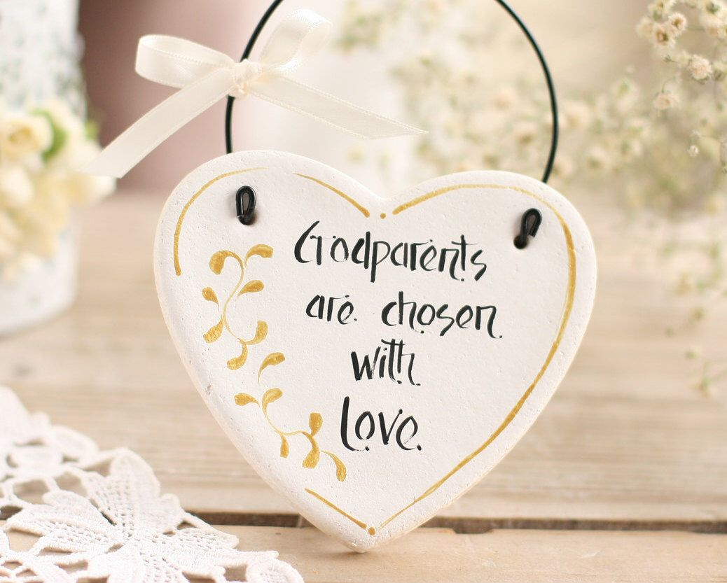 Personalized Godparents gift salt dough heart hanging ornament ...
