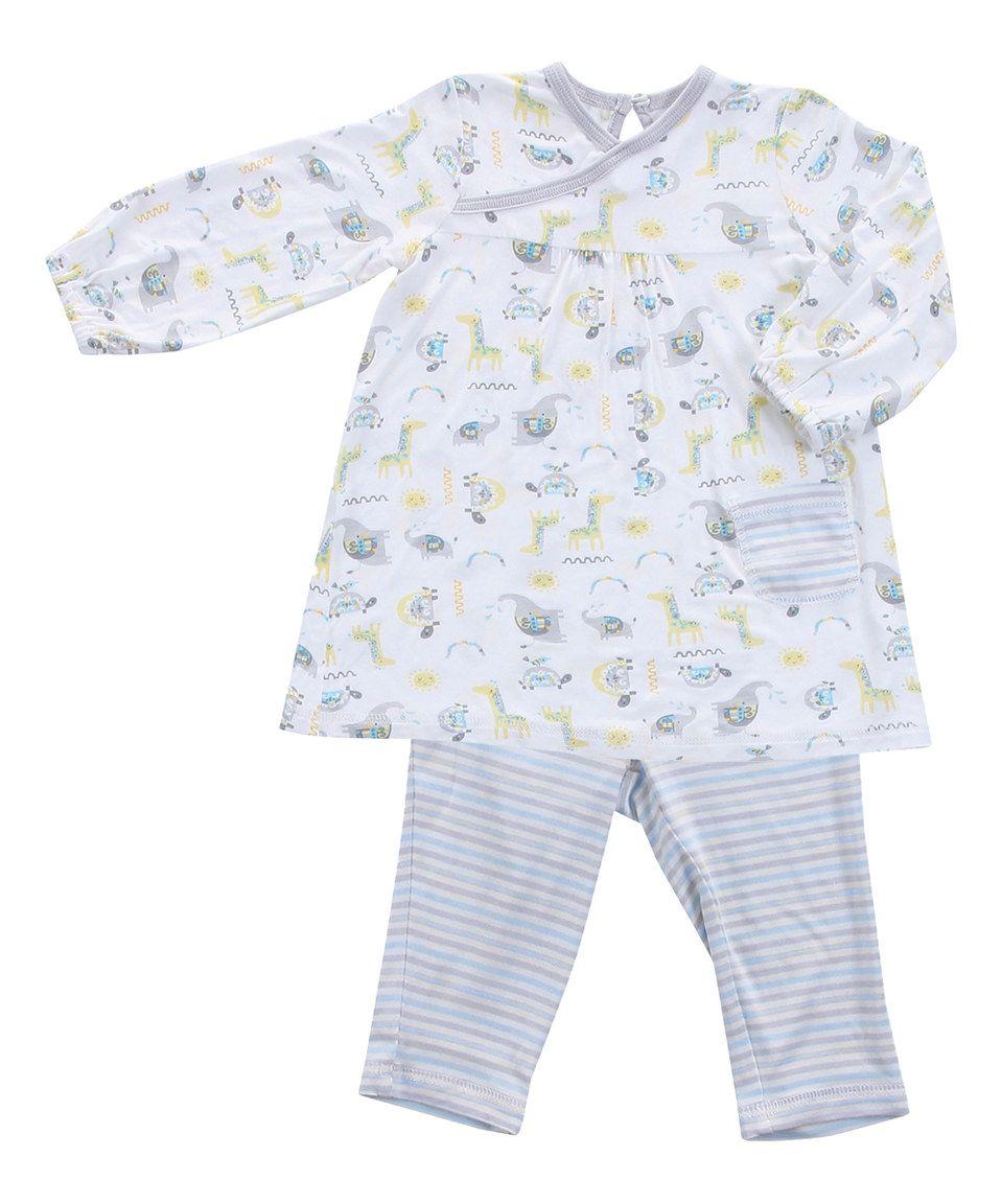 c7761f934697 Loving this White Geo Safari Dress   Blue Stripe Leggings - Infant ...