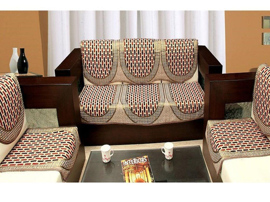 6 Piece Cotton Sofa and Chair Cover Set Maroon Single