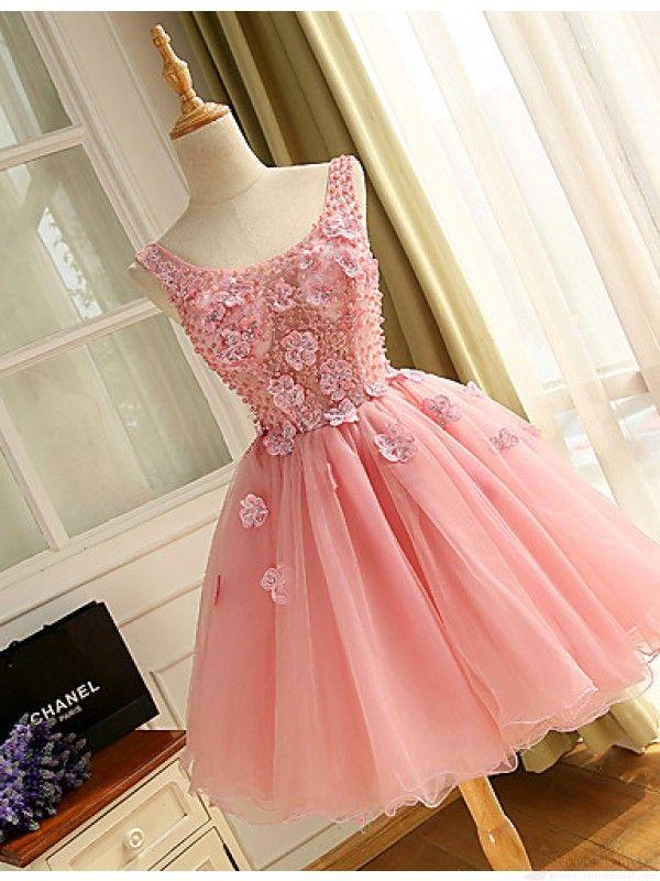 Pink V-neck Beading Applique Homecoming Dresses Cocktail Dresses ...
