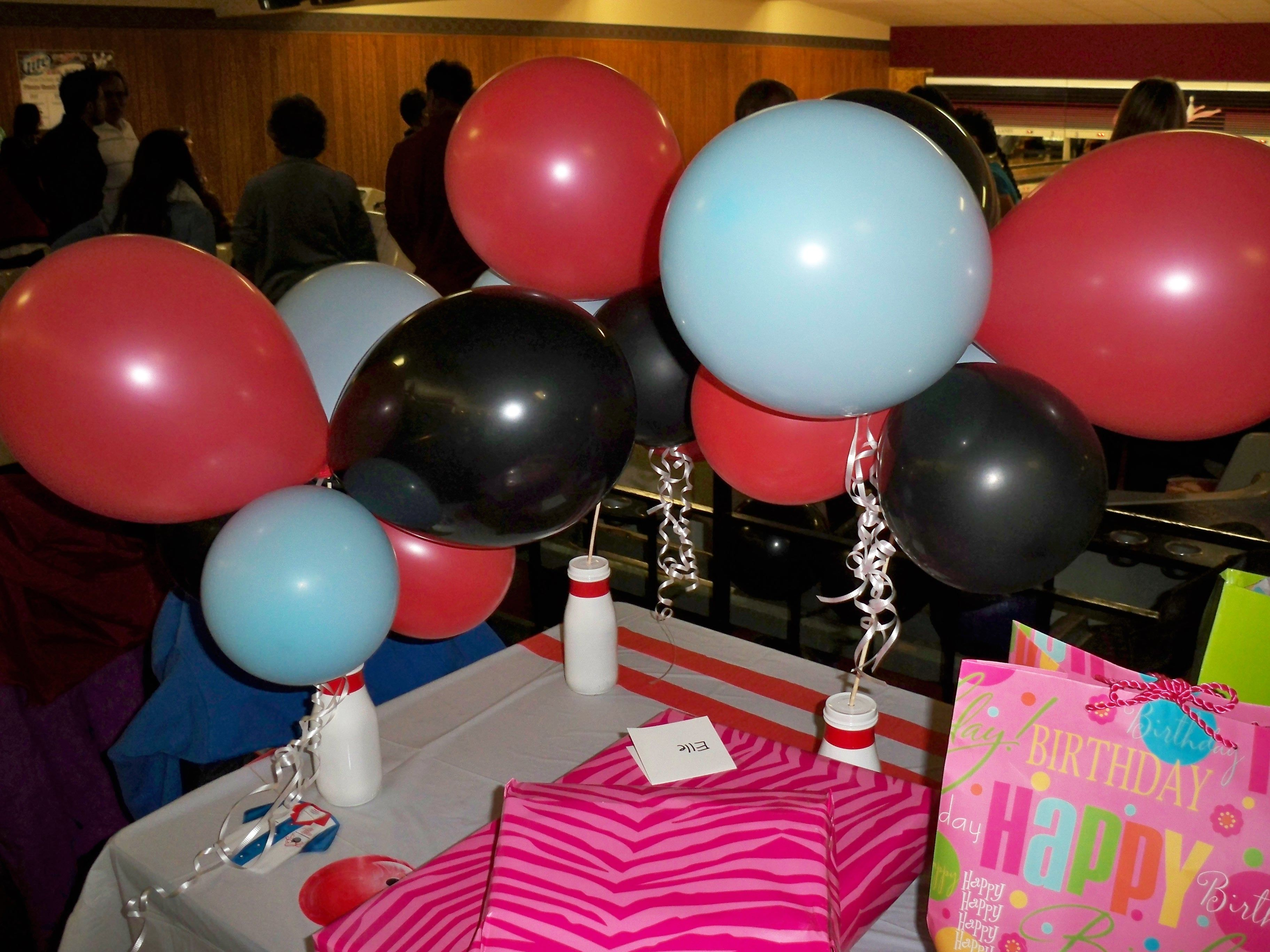 Bowling pin balloons - Bowling Birthday Party Painted Frappucino Bottles With Red Tape For Bowling Pin Look Tie