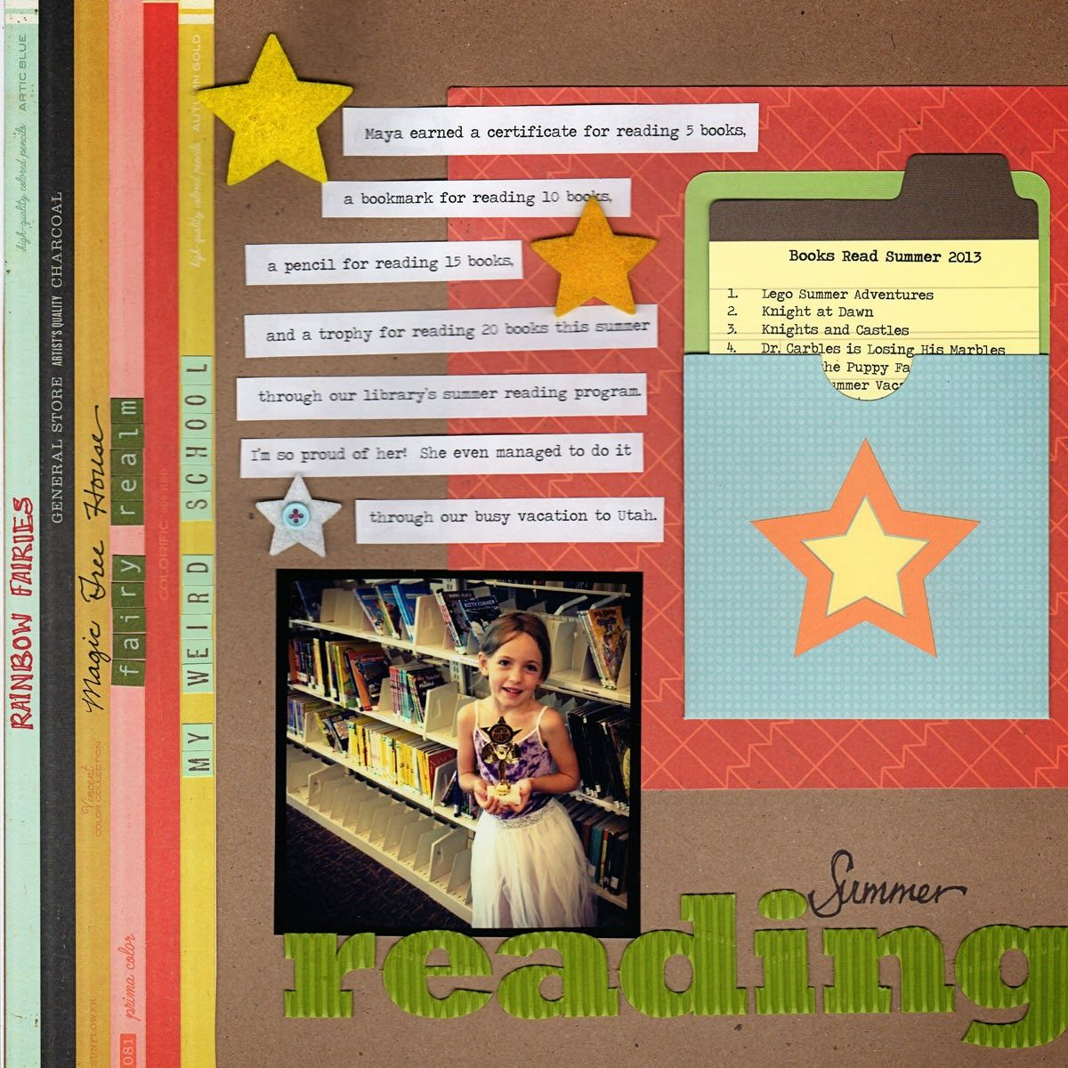 Scrapbook ideas list - Scraps Of Shirlee Reading Scrapbook Page Book List Layout