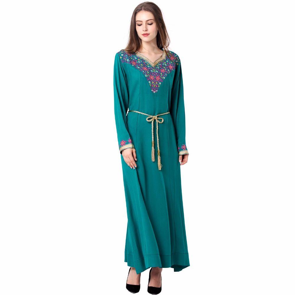 Muslim women kaftan caftan autumn maxi long sleeve long dress