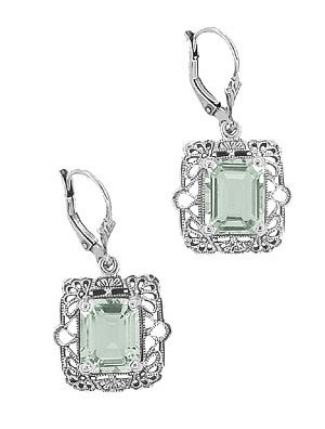 Green Amethyst Earrings Filigree With The Perfect Essence Of Lace And Gorgeous Emerald Cut Stones Vintage Yet Timeless