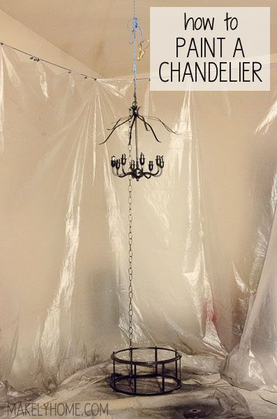 How to paint a chandelier spray painting chandeliers and sprays how to hang a chandelier for easy spray painting via makelyhome aloadofball Images