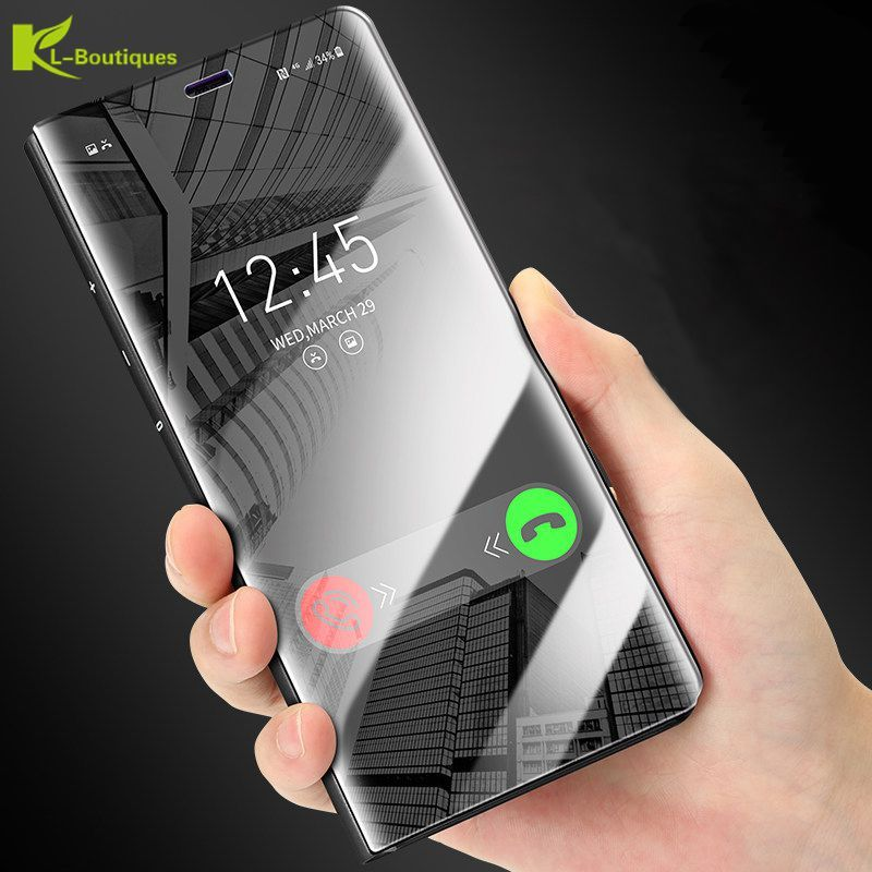 KL-Boutiques Mirror Clear View Smart Case For Samsung Galaxy S8 S8Plus Luxury Flip Stand Phone Cover sFor Samsung S7 S7Edge Capa