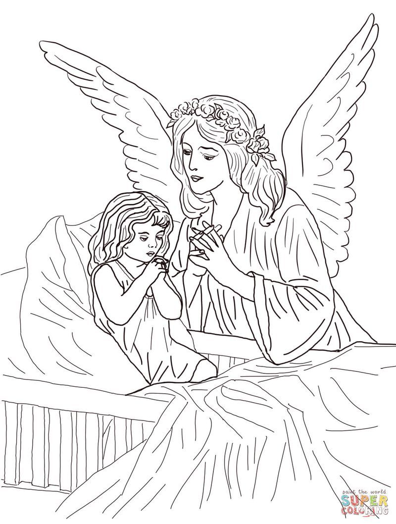 Collection Of Angel Coloring Pages Angel Coloring Pages Catholic Coloring Guardian Angels Prayer