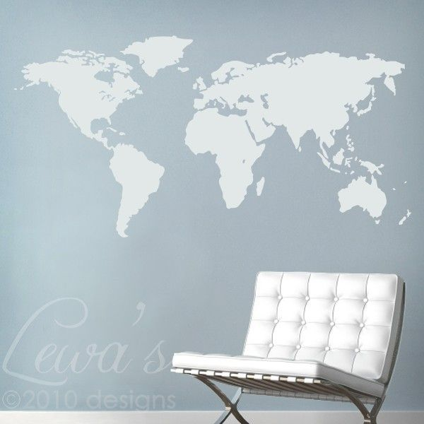 Put the map of the world right on your wall with this large world could paint wall chalk grey and apply this decal this lady does custom sizes world map large vinyl wall decal by lewasdesigns on etsy gumiabroncs Gallery