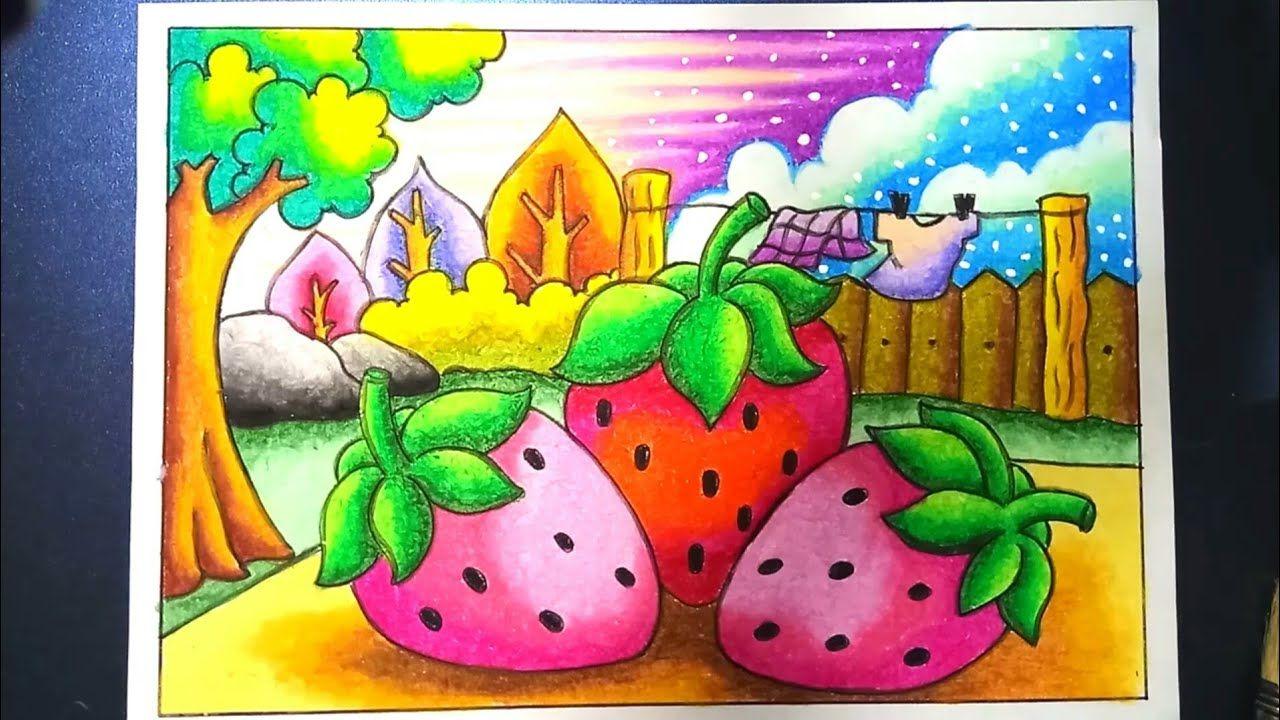 Menggambar Dan Mewarnai Strawberry Dengan Gradasi Crayon Oilpastel