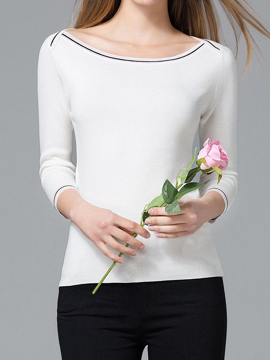 #AdoreWe StyleWe Sweaters - Mara Carol White Long Sleeve Solid Bateau/boat Neck Sweater - AdoreWe.com