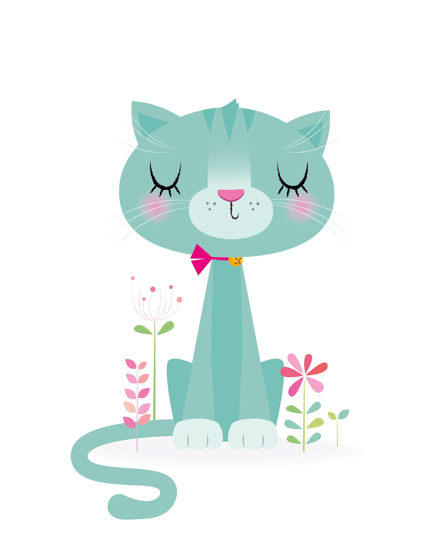 Dessin D Une Chambre D Enfant art de chambre de bébé fille, décor de crèche, chat