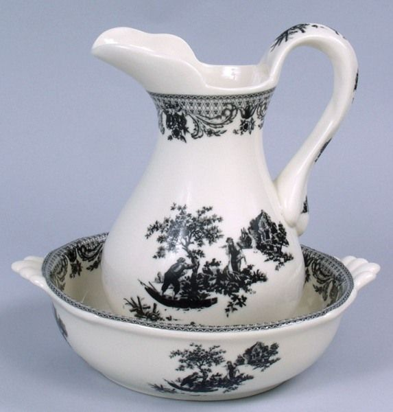 Pitcher and Bowl Set Black and White Victorian Toile
