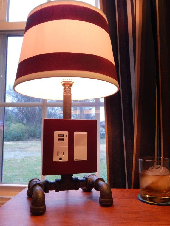 Custom Lamp With USB And Edison Outlet By NightCapStudio On Etsy, $120.00