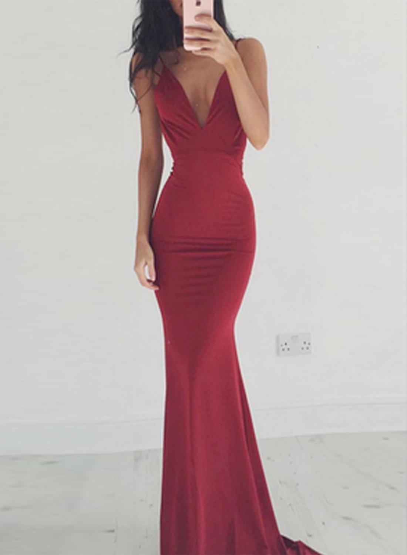 Women s elegant v neck sleeveless backless maxi prom dress women