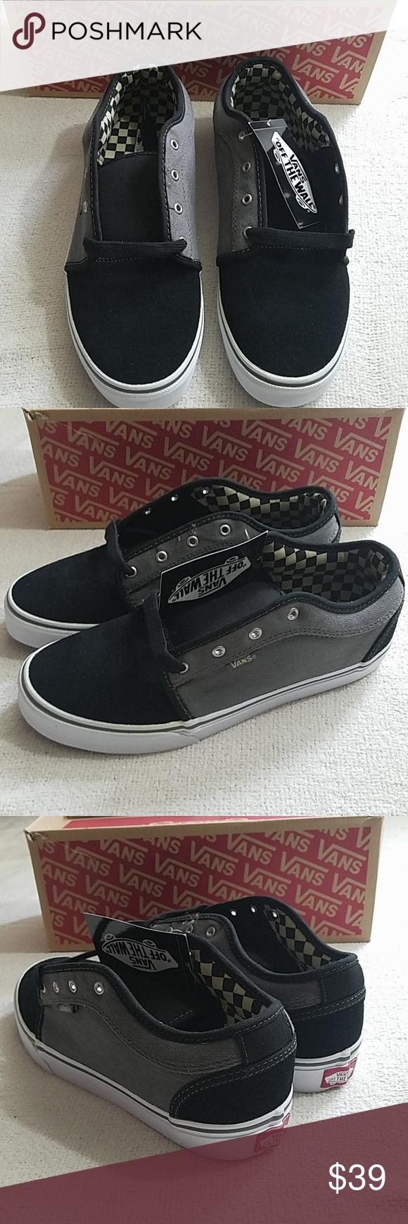 New Van s Chukka Low Black pewter shoes Van s with box size youth 6.0 Herringbone  black ca2f4a924