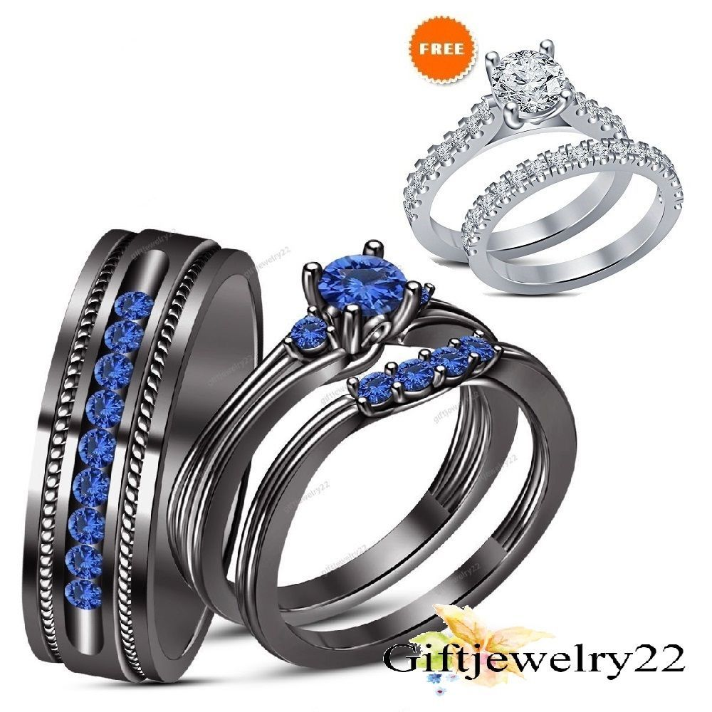 His Her 1.10 CT. Blue Sapphire Engagement Rings Bands Trio Sets 14k Black  Gold #