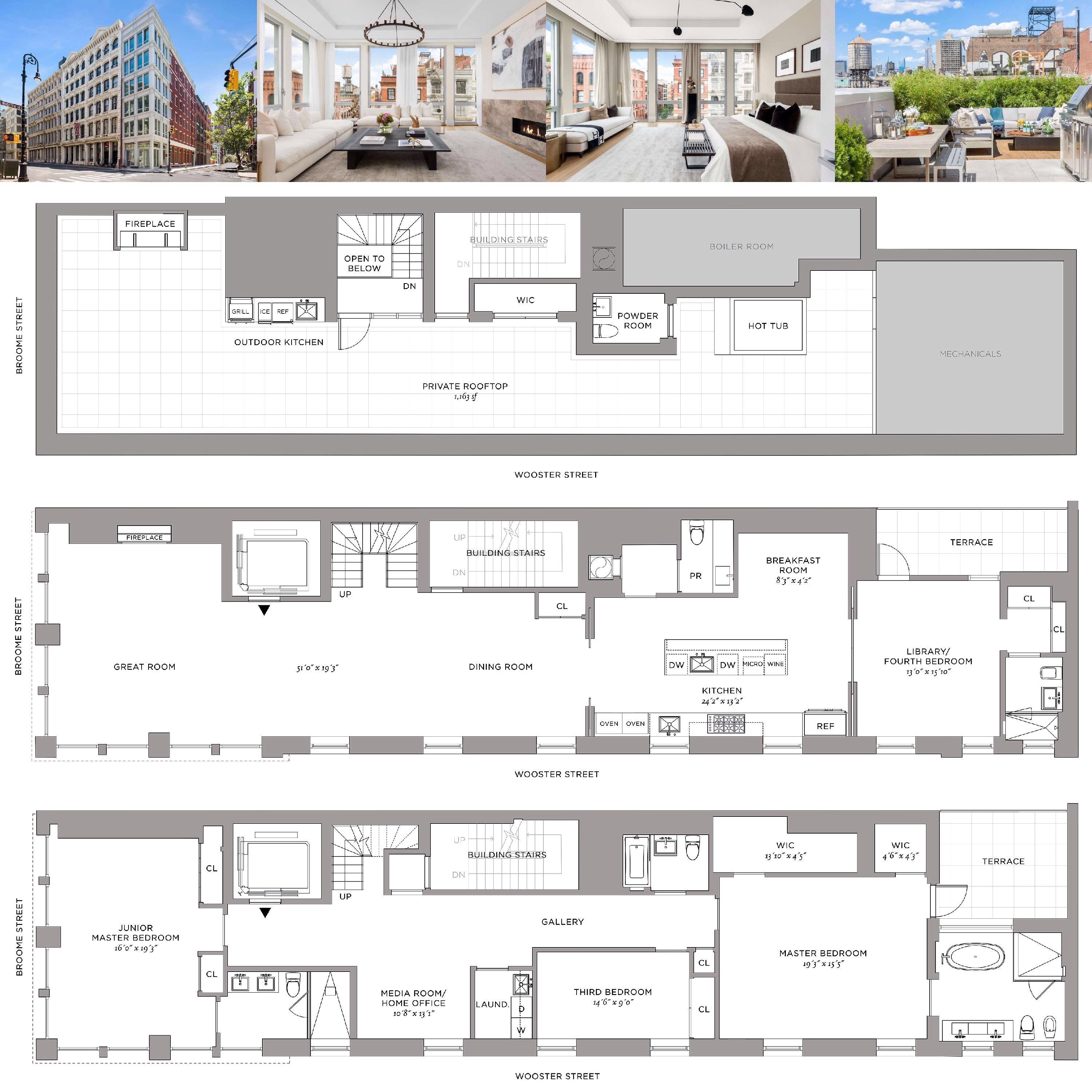 52 Wooster Soho Ny Penthouse 4bedrooms 4baths Interior 4 270 Sqft Terrace 1 368 Sqft Loft Plan Interior Decorating Dining Room Townhouse Apartments