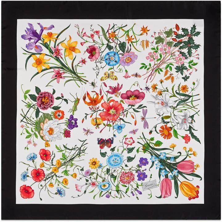 44dc05f5172 Gucci Flora silk printed scarf