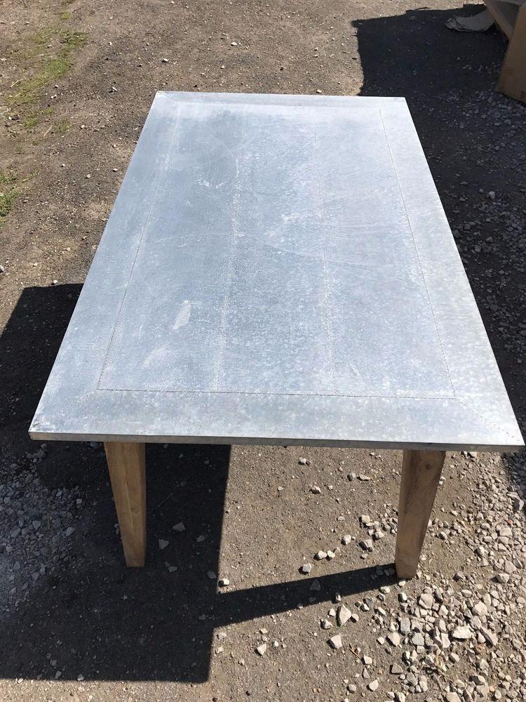 zinc dining table noir rustic mango wood oak dining table with alovely distressed galvanised zinc top odd bump medium designer brand daddy zinc solid mangowood