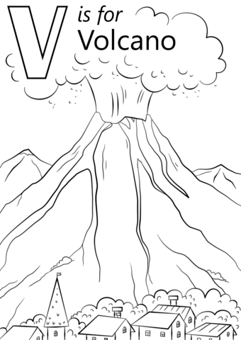 V Is For Volcano Coloring Page From Letter V Category Select From