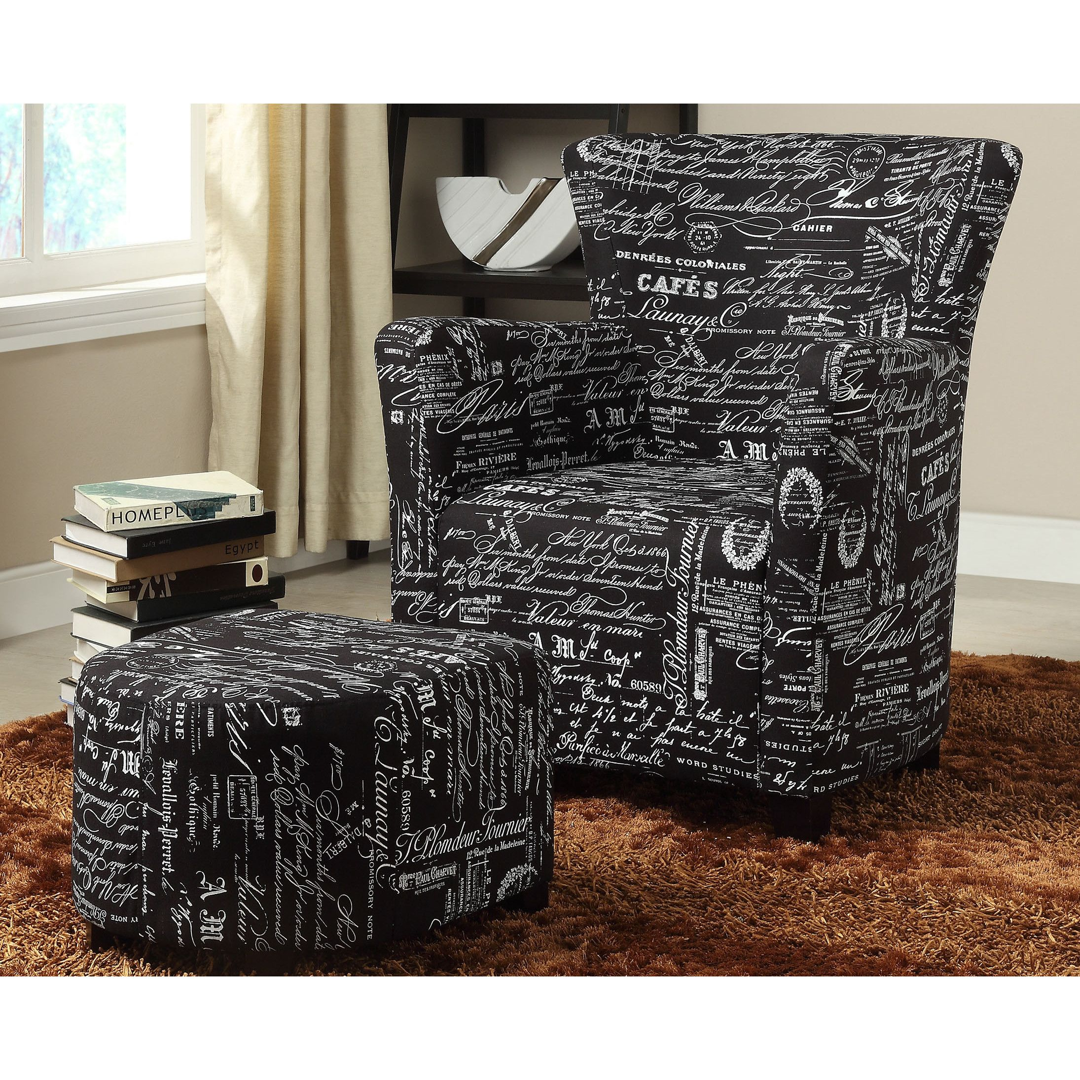 WorldWide HomeFurnishings Fabric Club Chair/Ottoman Set U0026 Reviews | Wayfair