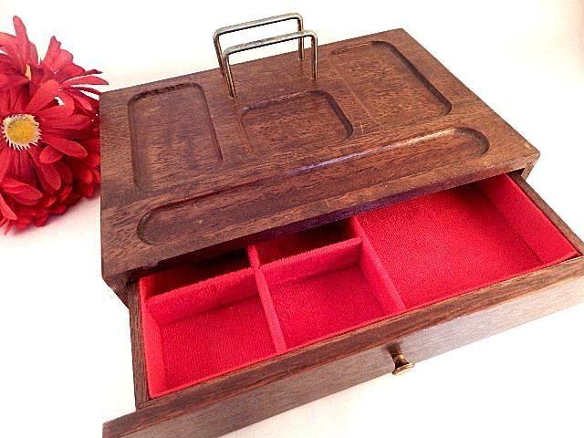 Mens Valet Jewelry Box Wooden Organizer Key Tray Trinket Box Desk Accessory Dresser Top Decor Gift For Him Wooden Organizer Wooden Boxes Dresser Top Decor