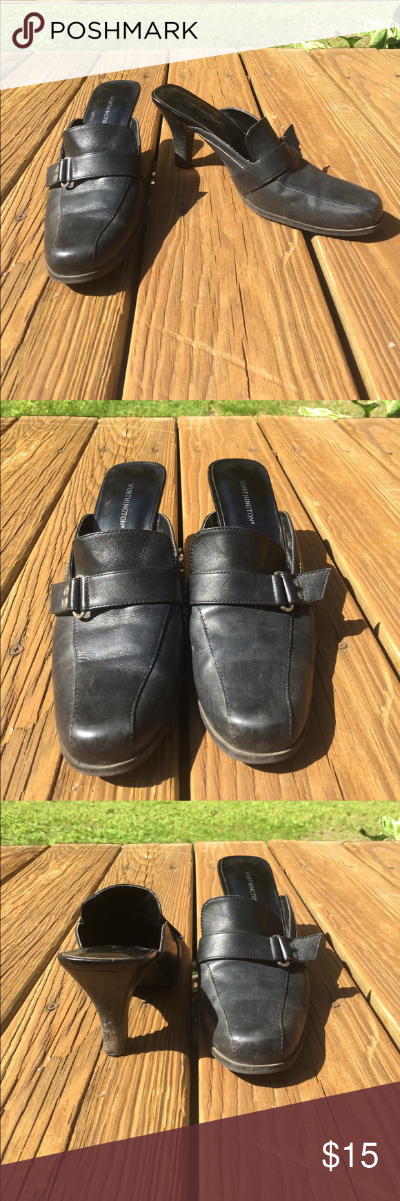 Heeled Loafers Black Worthington open heel loafers with a small heel, still in good condition with only normal wear on the heel, great for work!!! Worthington Shoes Flats & Loafers