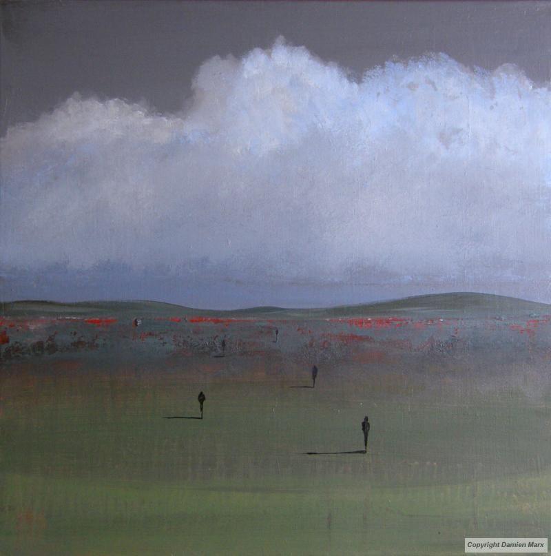 Damien marx paysage abstrait acrylique vert peintres for Paysage vert