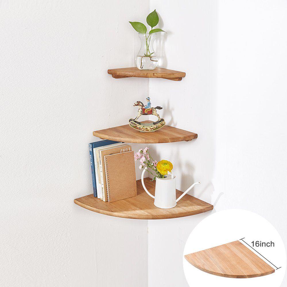 Inman Wooden Corner Shelf 1 Pcs Round End Hanging Wall Mount Floating Shelves Storage Shelving Table Bookshelf Drawers Eckregale Schwebende Regale Diy Eckregal