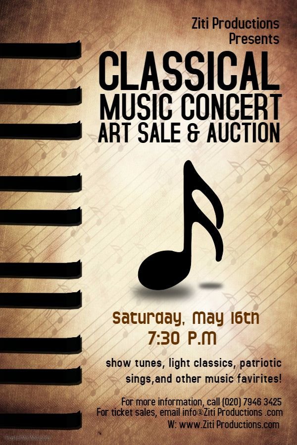 Classical Music Concert Flyer. Click The Image To Customize On