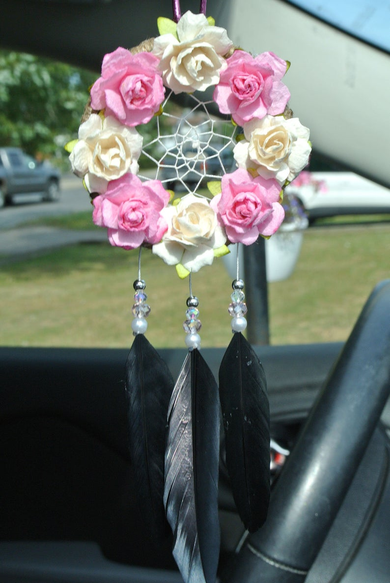 Pink and Black Car Accessories Car Dream Catcher Rearview