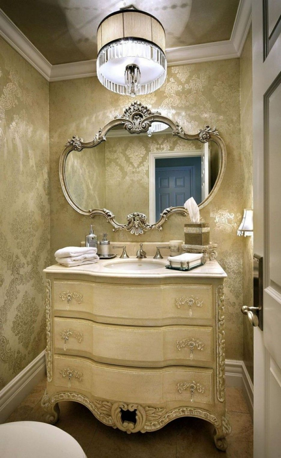 Luxury Stylish Powder Rooms Vanity Decoration Elegant Room Gold Nuance Feature Pretty