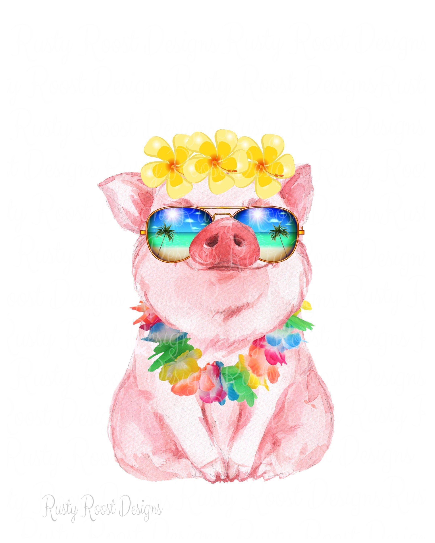Pig With Sunglasses Png Pig With Flowers Tropical Pig Png Sublimation Design Download Digital Downlo Pig Art Pig Painting Pig Illustration